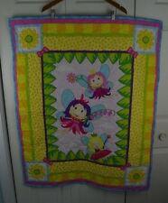 Fairy Blanket Quilt Floral Garden Yellow Blue Pink Green Nursery Bedoom Decor