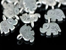 Ka-094 Ksb Thai Karen Hill Handmade Silver 4 Elephant Diecut Charm