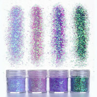 10ml Purple Sequins Nail Art Super Matte Glitter Dust Powder 3D Decoration