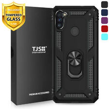 For Samsung Galaxy A11 Phone Case TJS DuoGuard Ring Holder +Tempered Glass