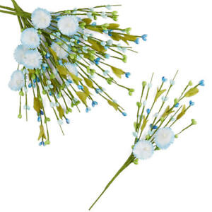 Factory Direct Craft Blue and Green Poly Silk Flower and Pip Berry Floral S
