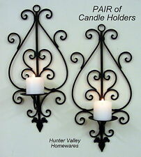 Set of 2 Wrought Iron Wall Candle Holders Rustic Metal Sconces 2xWide M/Sec CW50