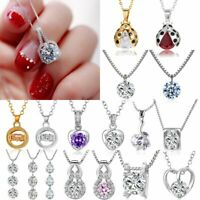 Chic Women Heart Flowers Cross Zircon Crystal Pendant Necklace Wedding Hot Gift