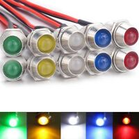 10pcs 12V 8mm LED Indicator Light Lamp Bulb Pilot Dash Panel Car Truck Boat Top