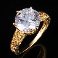 10K Yellow Gold Cubic Zirconia Antique Party Wedding Fine Ring Prong Setting