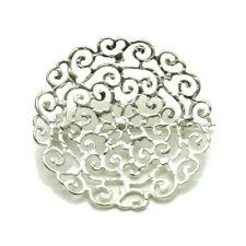 Genuine Solid Hallmarked 925 Empress Sterling Silver Brooch Stylish Filigree