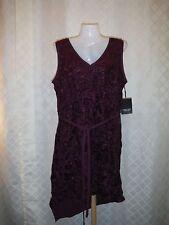 Sleeveless lined Dress PL Simply Vera Vera Wang Purple Wine Asymetric Hem NWT