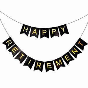 Black & Gold Happy Retirement Bunting Banner Garland Retire Party Decor Sign