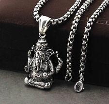 Mens Stainless Steel Buddha Hindu Ganesh Elephant God Mens Pendant Necklace PE43