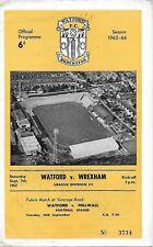 Football Programme>WATFORD v WREXHAM Sept 1963