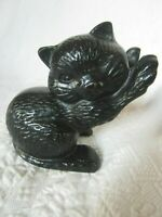 "Vintage Cast Iron Kitten Cat Door stop Sculpture 4.5 lbs. Black 5.5"" VGC"