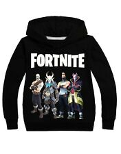 New Fortnite Battle Royal Boys unisex lightweight cotton top hoodie Black 4-14Ys