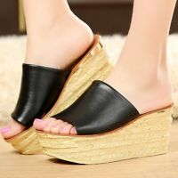 Women's Platform Slippers Shoes Flip Flops Casual Beach Wedge High Heel Sandals