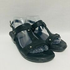 Born Womens Sandals Strappy Black Small Wedge Heel Leather Upper Sz 8M