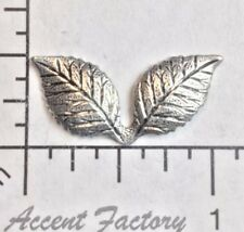 31834 - 4 Pc Double Leaf Brass Jewelry Finding SILVER Oxidized