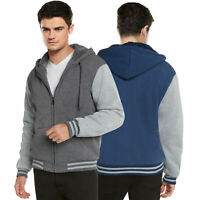 Men's Sherpa Fleece Lined Varsity Zip Up Two Tone Hoodie Hooded Jacket 2-TOON
