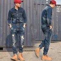 Retro Men Denim Casual Slim Fit Overall Ripped Jumpsuit Jeans Romper Cowboy Pant