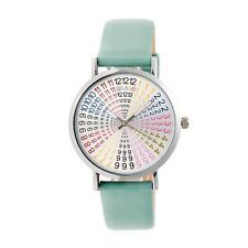 Crayo Fortune Women's Rainbow Dial Seafoam Green Band Silver Watch CR4303