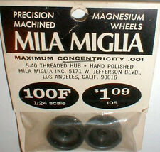 1 pair smooth Magnesium Wheels by MILA MIGLIA #100F 1960's slot car NOS