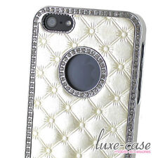 iPhone 5 Case Cover Tufted Quilted Patent Leather Elegant White Silver Pretty BN