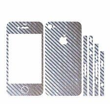 22 FARB. IPHONE 4S FOLIE 2D SILBER CARBON CHROM ( COVER SKIN SCHALE SCHUTZ HÜLLE