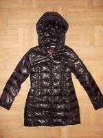 Express Womens sz S Down Water Fowl Puffer Zip Up Long Jacket  Coat Hooded ~ EUC
