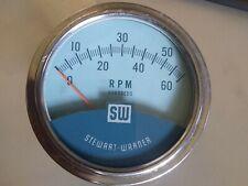 Vintage Stewart Warner Twin Blue Blue Line Tachometer 3 3/8 USA NICE!!!!