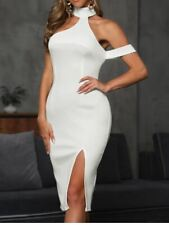 NEW CBR White SEXY Sleeveless Off The Shoulder Slit Bodycon Dress