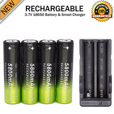4PCS Rechargeable 3.7V 5800mAh Li-ion 18650 Battery + Dual Smart Charger US Kits