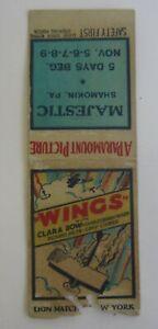 1920's MAJESTIC Movie Theatre SHAMOKIN PA. Wings Clara Bow MATCHCOVER - Bobtail