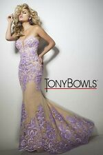Tony Bowls Prom Dress Party  Evening  Long Sexy Color Nude Lavender Size 2