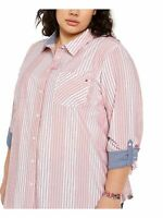 TOMMY HILFIGER Womens Pink Striped 3/4 Sleeve Button Up Top Plus Size: 1X
