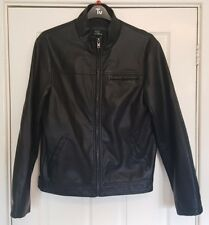 Wallace Sacks Luxury Collection Black S Small PU Leather Biker Jacket Blazer