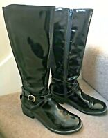 "CLARK'S Black Patent Leather Knee High Boots ""Nessa Clare"" UK4.5 EU37.5"