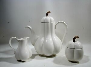 Midcentury Ernest Sohn Creations China Gourd Coffee Pot Creamer & Sugar
