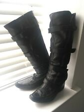 BRONX Knee High Leather Strap Boots Size 5