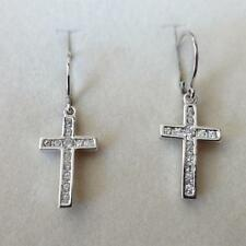 Men'S Women'S Hoop Earrings Silver Tone With Cross Pendant white Zircons 334 Aa