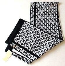 NWT MICHAEL KORS Womens Knit Scarf MK Logo Monogram Black/White 537170C $58 NEW
