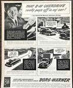 1949 Borg-Warner Automatic Overdrive PRINT AD Edward W Munson Chicago Salesman