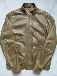 Men's soft & supple Marks and Spencer Tan Brown leather biker jacket Small S M&S