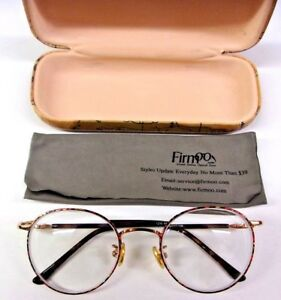 Firm 1230 49-17-138 Eye Glasses Full Red/Yellow/Brown With Vintage Map Case