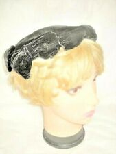 VINTAGE HAT PHYLLIS BLACK VELVET CAP W/ BOWS Side Clips 50s Woman Lady Millinery