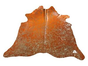 "Gold Acid Washed On Orange Cowhide - (XL7'5""x6'5"" Ft) - Premium Cowhide Leather"