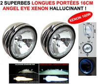 XENON+ANGEL EYE! 2 SUPER PHARES LONGUES PORTEES 16CM CHROME HELLA OSCAR MARCHAL