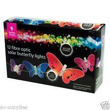 12 mariposa de fibra óptica alimentación de energía solar luces de jardín de iluminación al aire libre