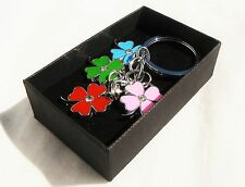 Colourful Flowers Keyring Chrome Metal Keychain Gift Boxed