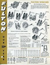 "Vintage Trailer Sales Sheet: ""FULTON"" Winches, Tie-Downs Etc"