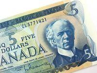1972 Canada 5 Dollar Uncirculated CL Prefix Bouey Rasminsky Banknote Five R330