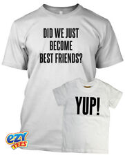 DID WE JUST BECOME BEST FRIENDS? YUP!  White Adult / Baby Tshirt Set Maternity