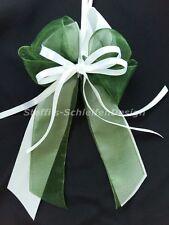 10 Antennenschleifen Autoschleifen Hochzeit Schleifen weiß grün Perlenherz
